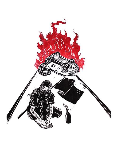 Gravura 'Sempre amarre o cadarço antes de explodir um banco' -  @luizzzamorg