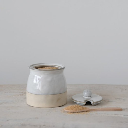 Stoneware Sugar Pot with Lid & Wood Spoon