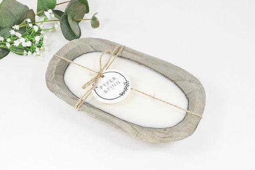 Grey Paulownia Wood Dough Bowl Soy Candle