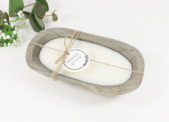 Grey Wood Dough Bowl Candle