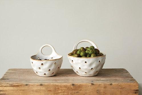 Stoneware Colander w/ Handle Set of 2