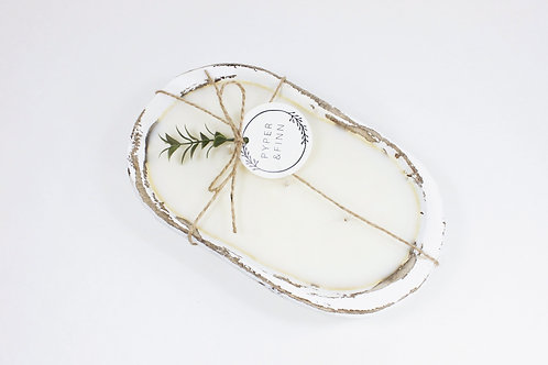 White Washed Dough Bowl Soy Candle