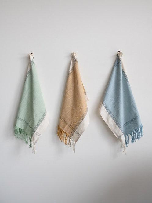 Cotton Tea Towels with Fringe Set of 3