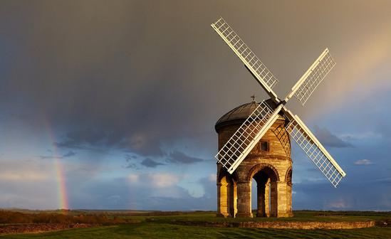 Chesterton Windmill with rainbow