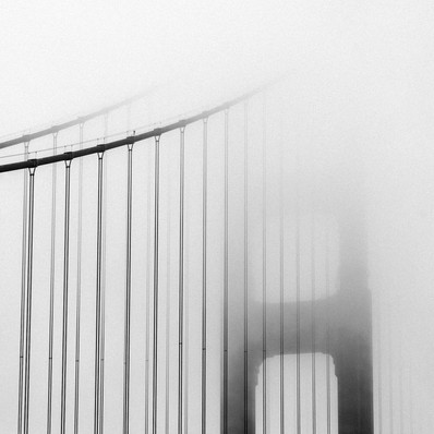 Golden Gate Bridge in fog. San Francisco, USA