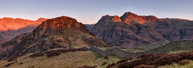 Langdale Pikes from Side Pike. Cumbria, England