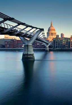 Millennium Bridge and St. Paul's Cathedral. London, England