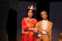Jane Geiger (Queen Helene) and James Caven (King Arnold), SPARC World Premiere.  Photo by Tom Topinka.