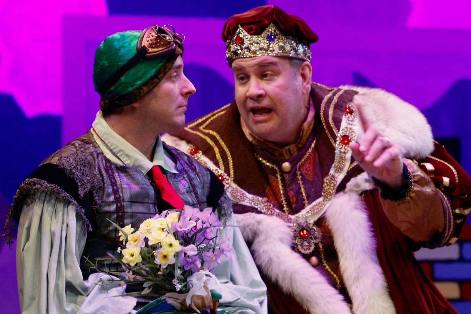 Alexander Sapp (Croaker) and Mark Persinger (King Arnold), Virginia Repertory Theatre.  Photo by Jay Paul.
