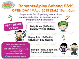 Babytots@play is opening on 1st  August 2015 in SS19, Subang Jaya!