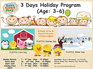 3 Days Holiday Program (Age: 3-6) , December 2015
