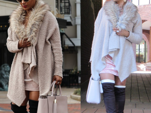 Putting it all together. The same jacket with different boots and similar dresses. Fashion should be