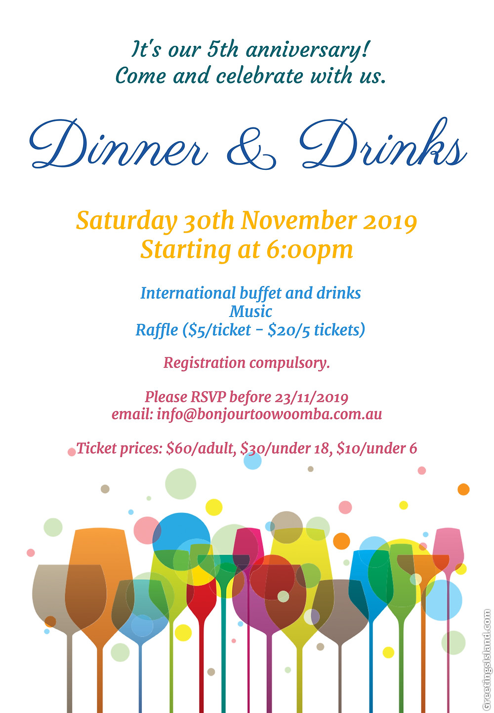 Bonjour Toowoomba 5th Anniversary Dinner