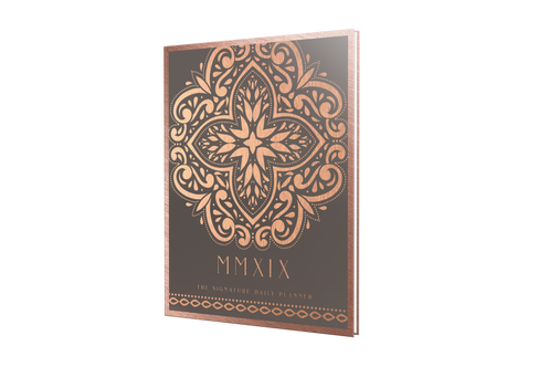 graphic about Hardcover Daily Planner titled Signature 2019 Working day Planner inside of Rose Gold with Grey: Hardcover