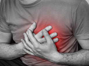 Man having chest pain, heart attack - bl