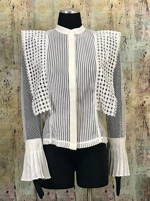 Lace Mesh Bell Cuff Blouse (additional color option)