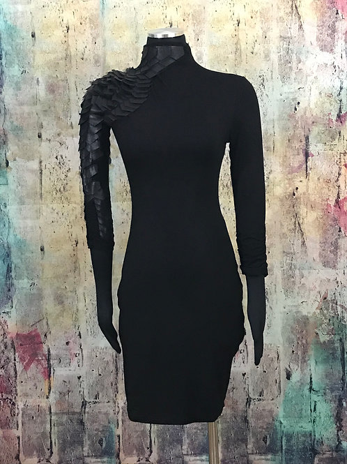 One Sleeve Scaled Faux Leather Dress