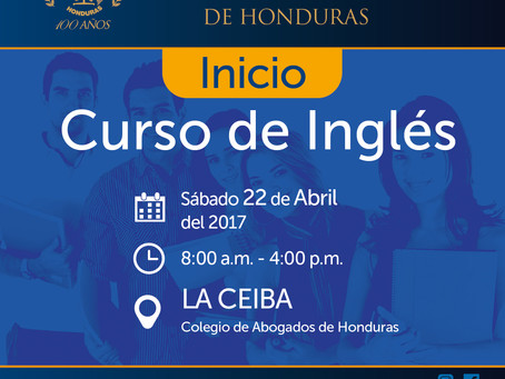 Este sábado 22 de abril comenzamos el curso de ingles en el capítulo de La Ceiba, en un horario de 8