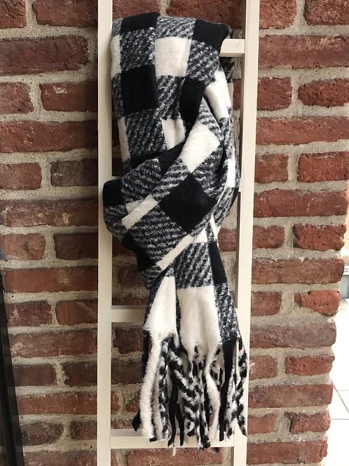 Écharpe à carreaux noir/écru