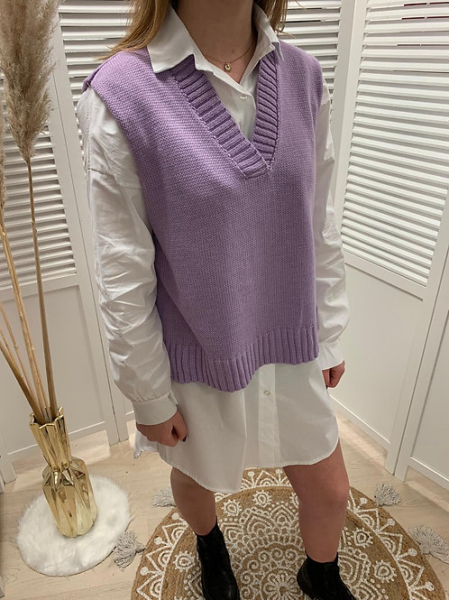 Pull sans manche lilas