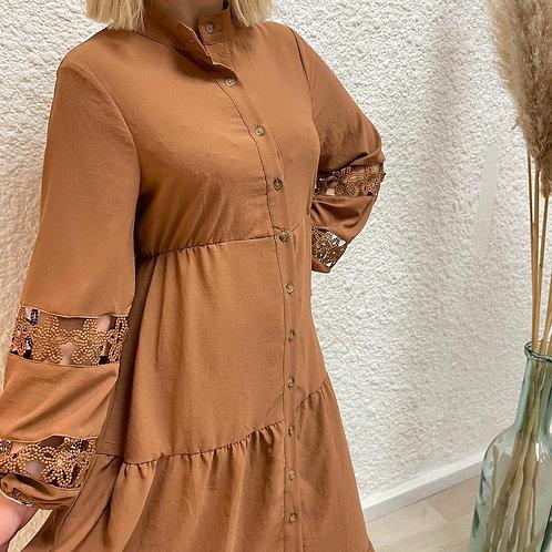 Robe camel manche ballon