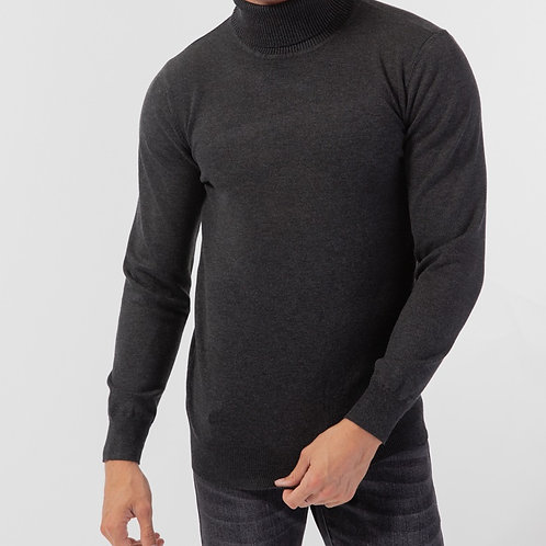 Pull col roulé gris anthracite