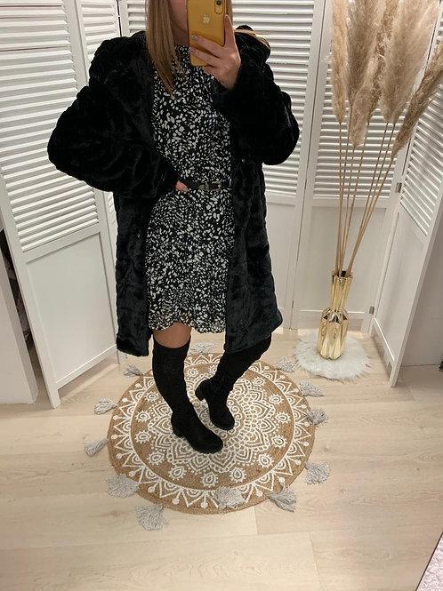 Manteau fourrure noir