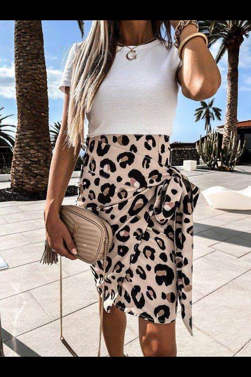Jupe porte feuille  léopard