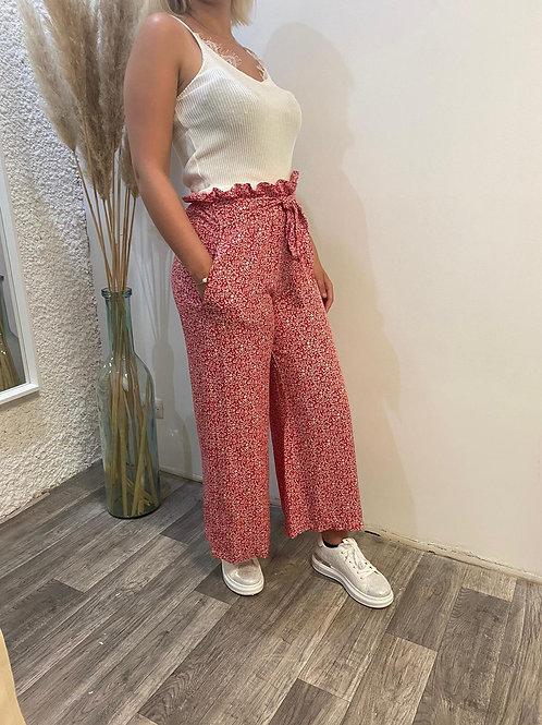 Pantalon fluide fleuri rouge
