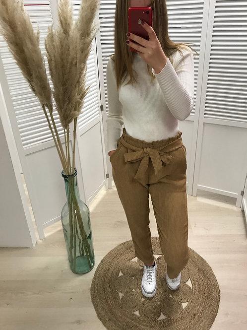 Pantalon ceinturé en velours