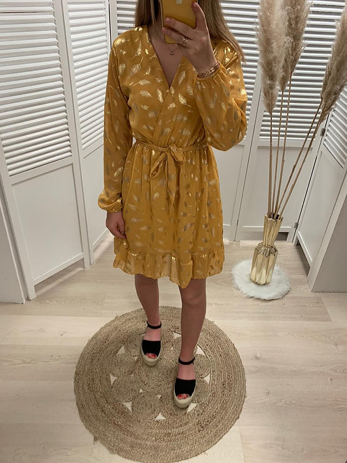 Robe moutarde détail gold