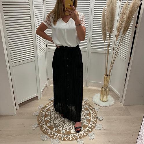 Longue jupe noire boutonnée