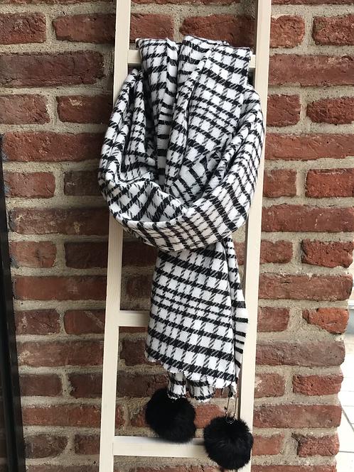 Écharpe noir & blanc à pompons