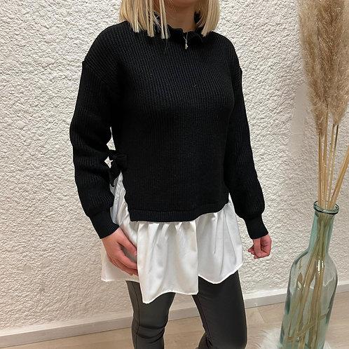 Pull chemise 2 en 1 noir