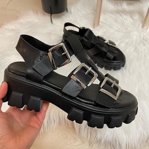 Sandales à boucles noires