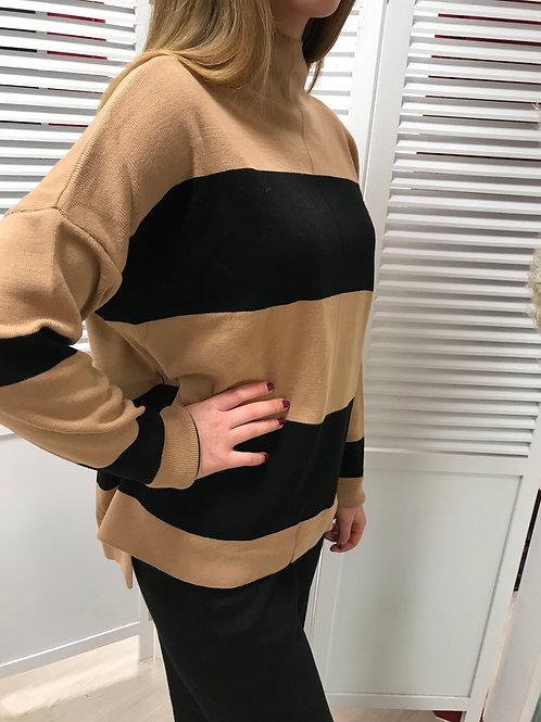 Pull bicolore beige&noir