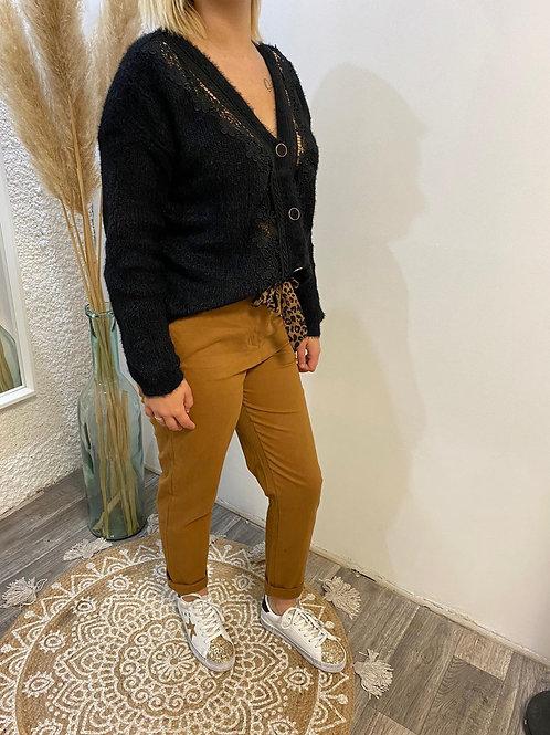 Pantalon camel à ceinture ruban