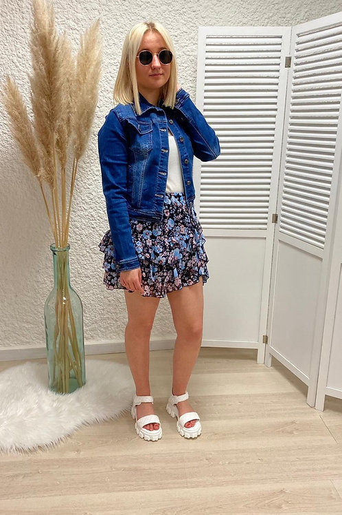Mini jupe fleurie bleue