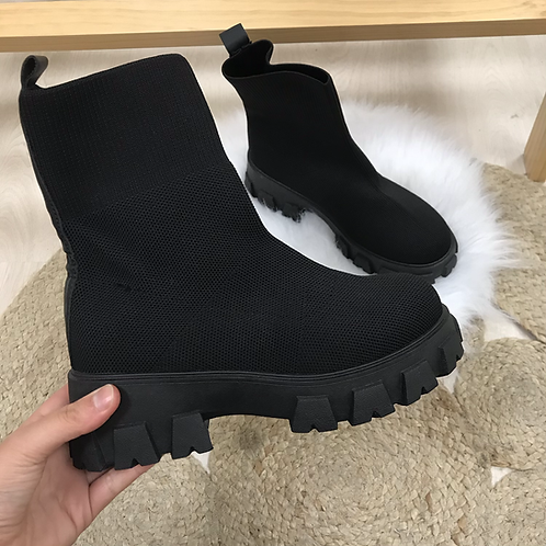 Bottines chaussettes noires