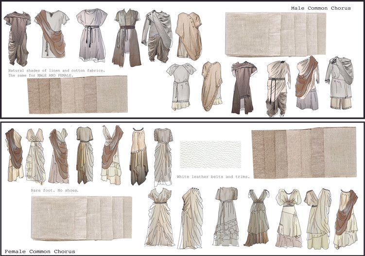 Male and Female Chorus Costume Designs - Dido and Aeneas