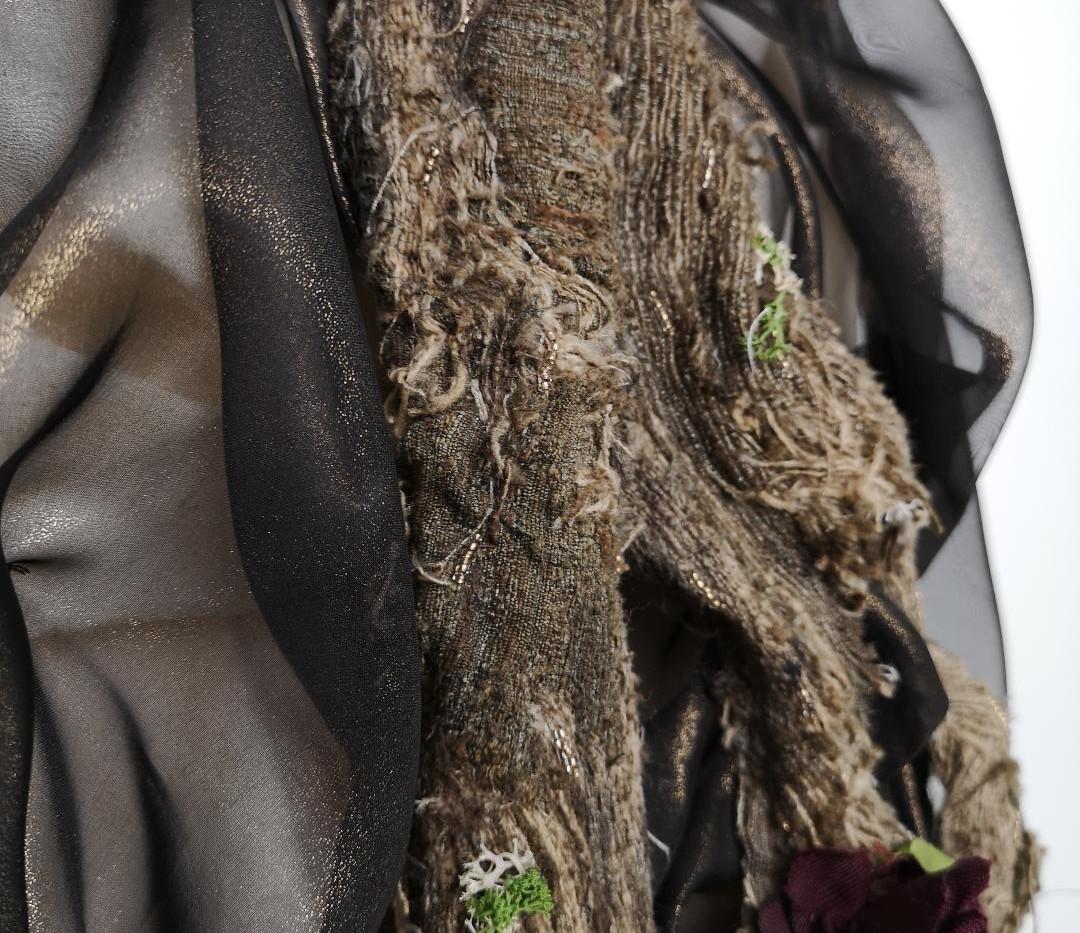 Smog vs Nature Victorian 1880s Calico Dress Bustle Detail