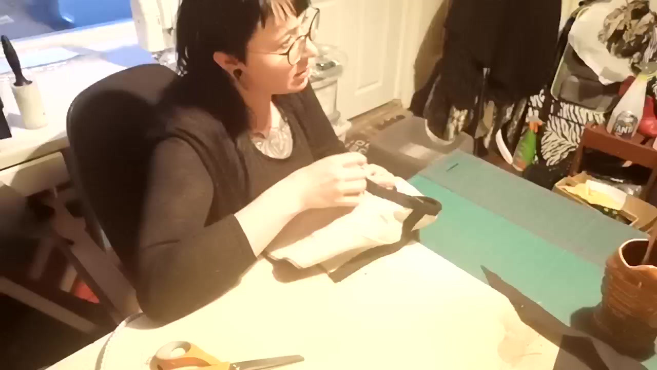 Sewing the Neck Binding onto Plague Doct