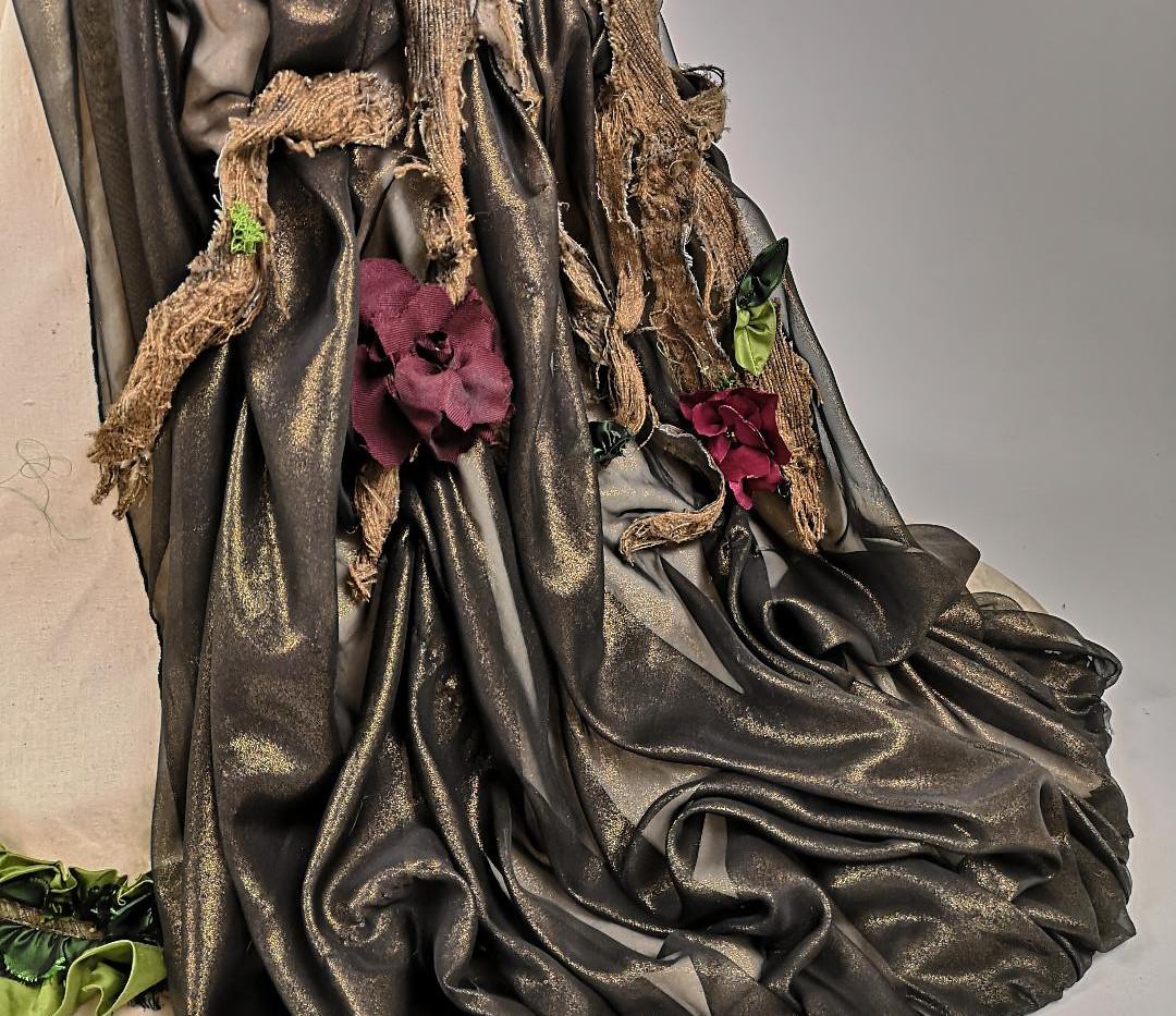 Smog vs Nature 1880s Victorian Calico Dress Bustle
