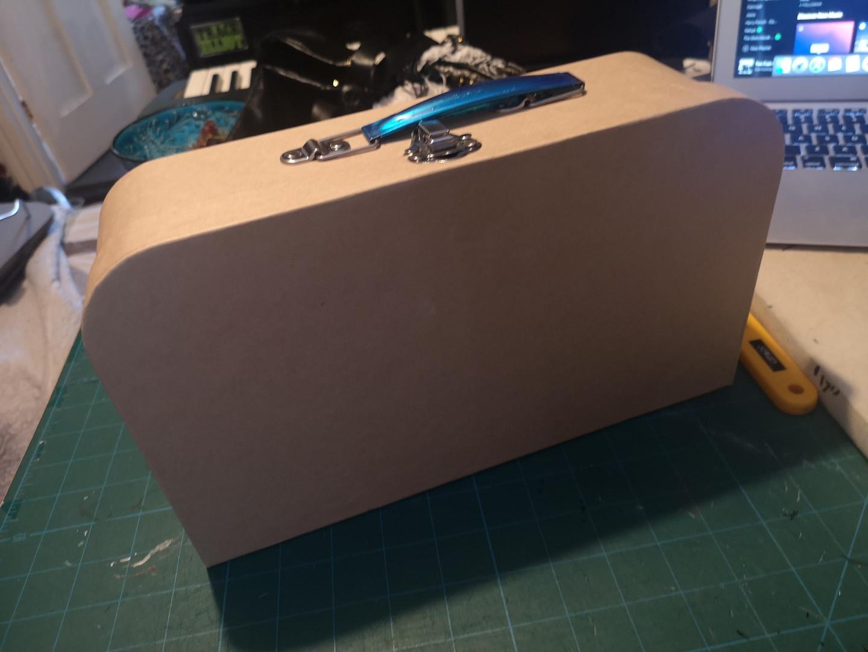Cardboard craft suitcase before