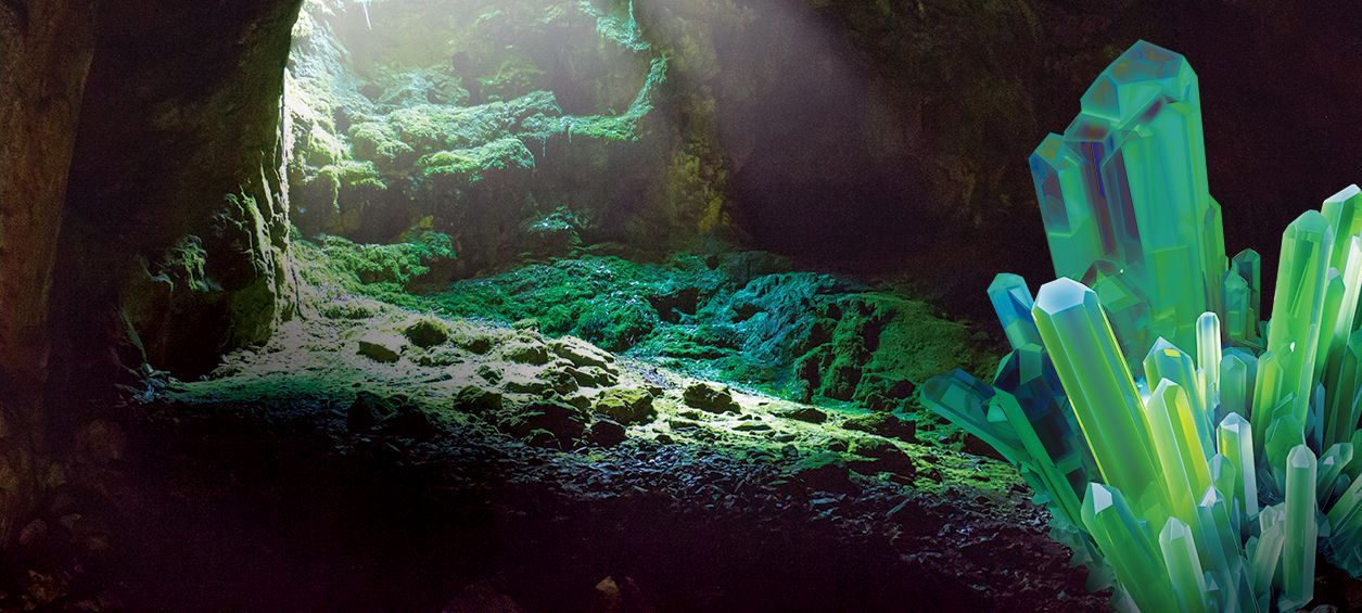 green crack cannabis represented by green-tinted cave