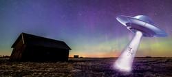 Purple Alien cannabis strain from Washington marijuana supplier represented by UFO in front of purpl