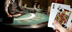 Black Jack cannabis strain represented by person winning blackjack