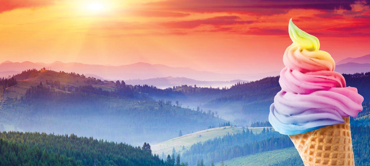 Sunset Sherbert marijuana strain represented by rainbow sherbert cone and sunset