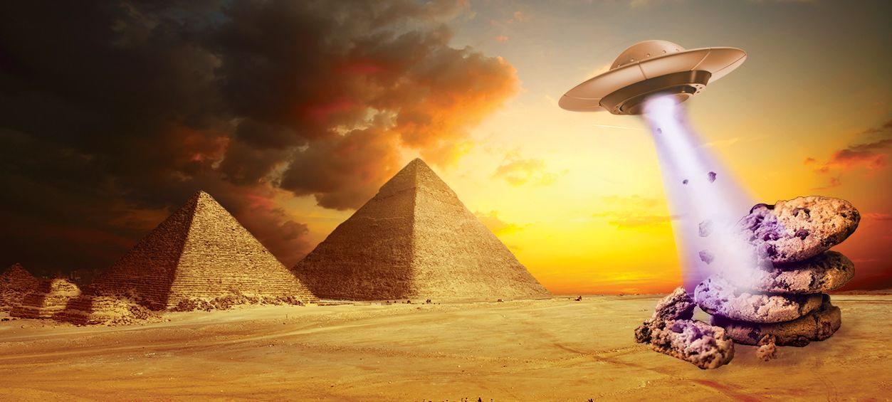 Alien Cookies cannabis strain represented by UFO in Egypt