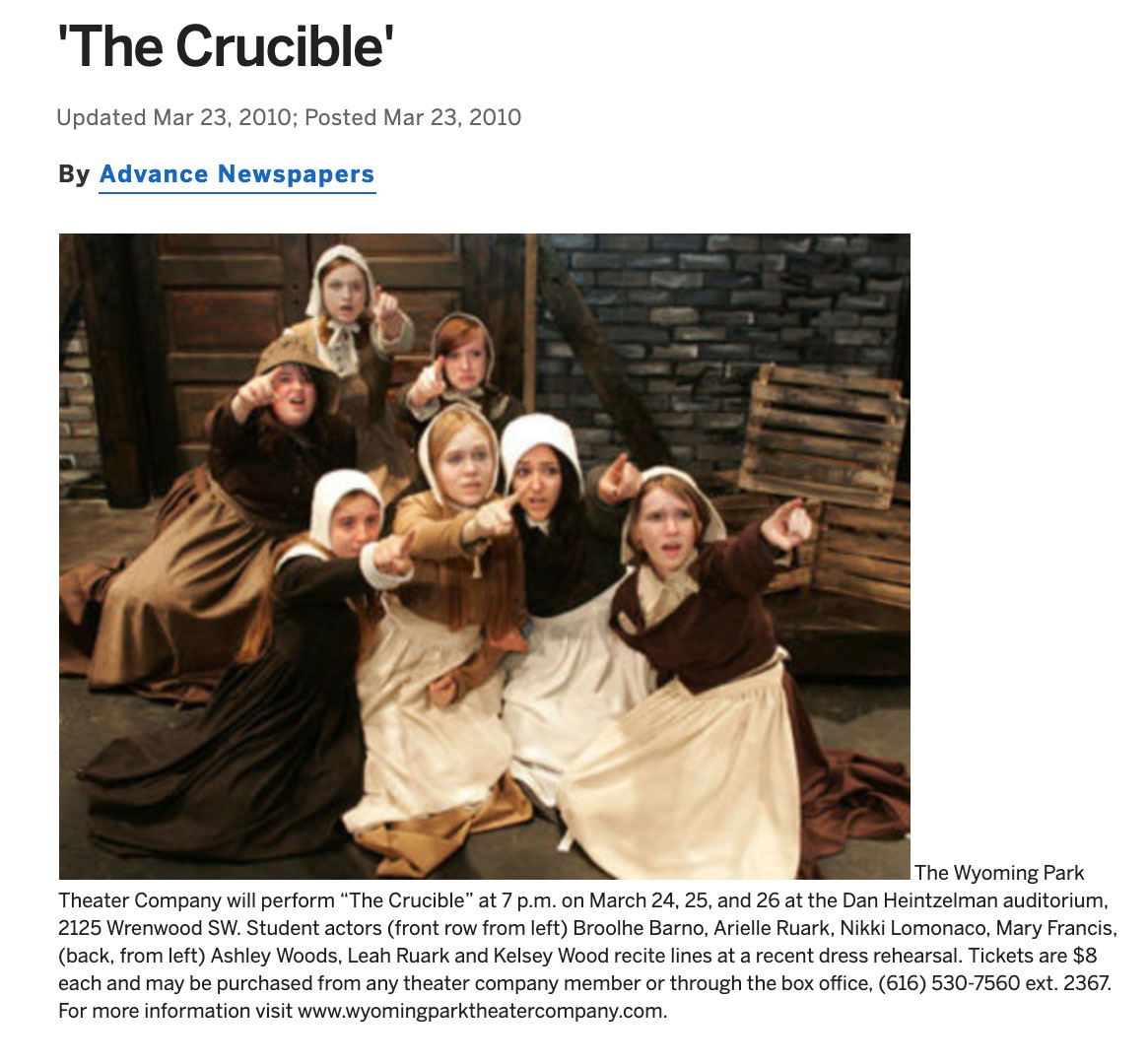 the crucible advance article